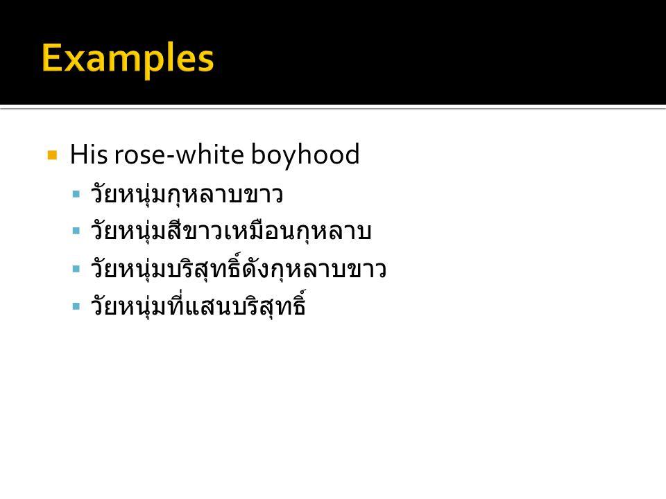 Examples His rose-white boyhood วัยหนุ่มกุหลาบขาว
