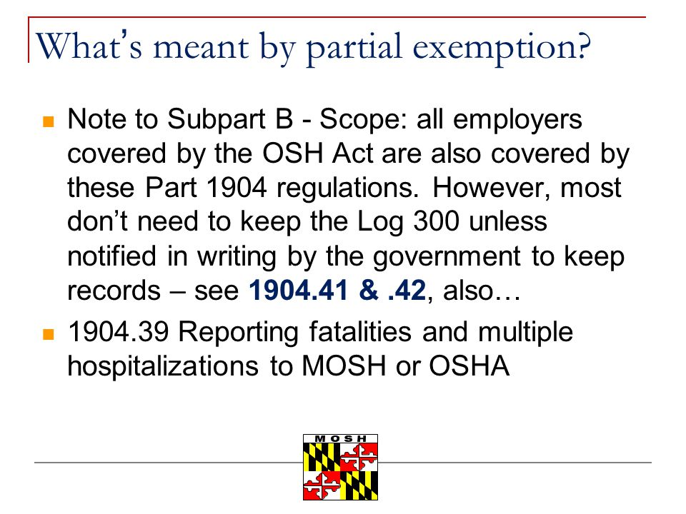 What's meant by partial exemption