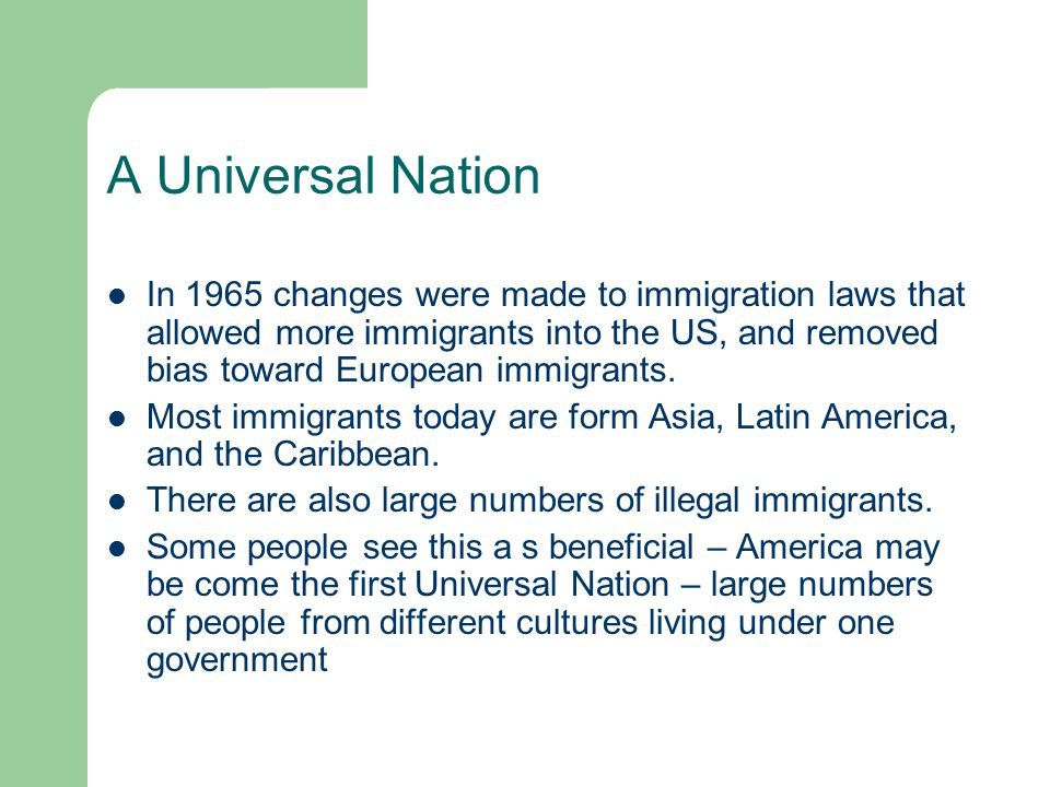A Universal Nation