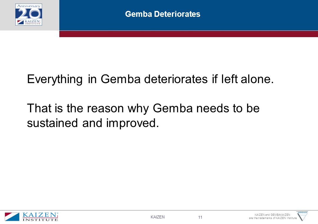 Everything in Gemba deteriorates if left alone.