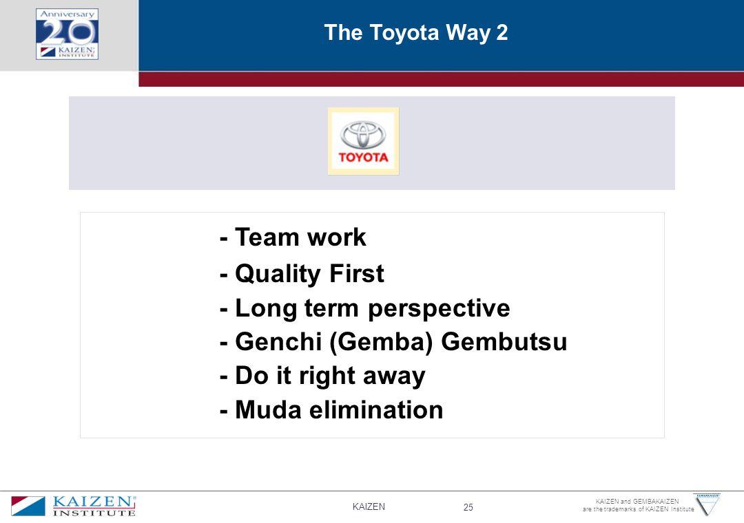 - Long term perspective - Genchi (Gemba) Gembutsu - Do it right away