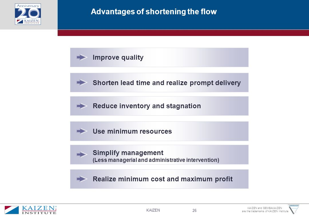 Advantages of shortening the flow