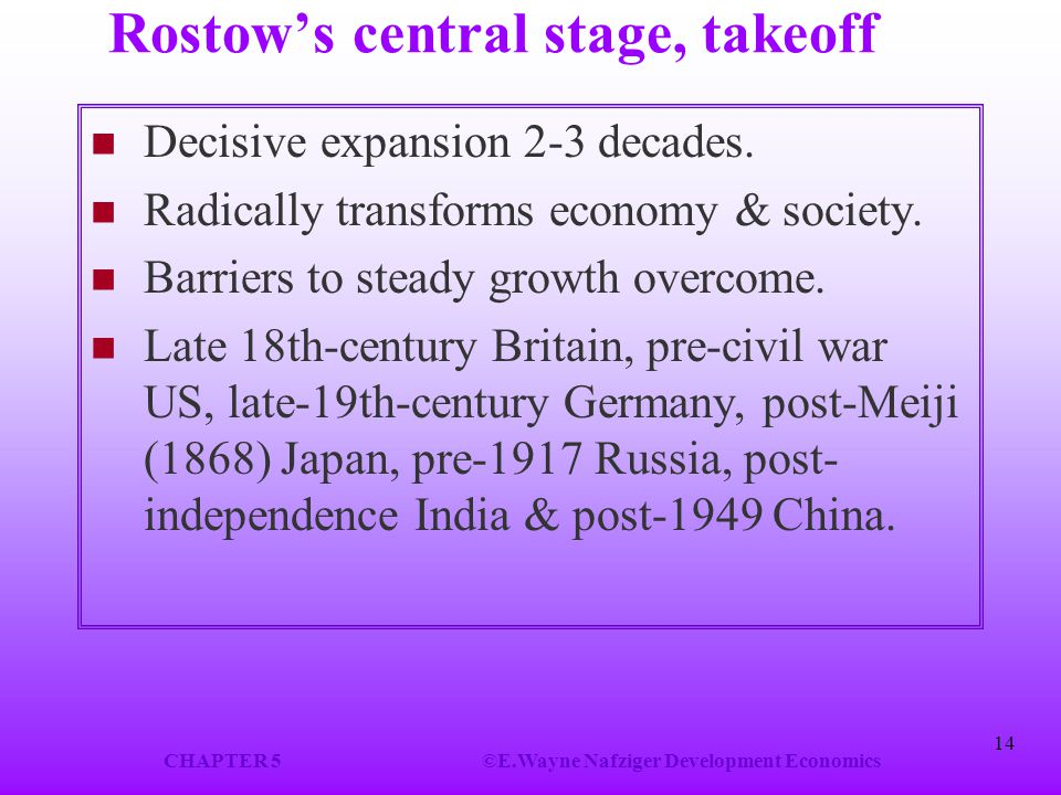 Rostow's central stage, takeoff