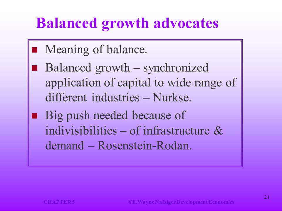 Balanced growth advocates