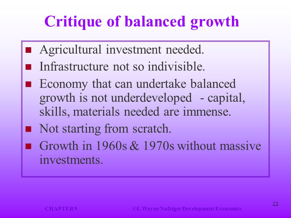 Critique of balanced growth