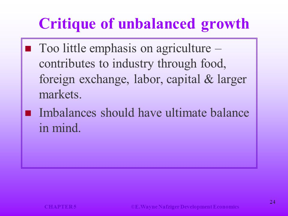 Critique of unbalanced growth