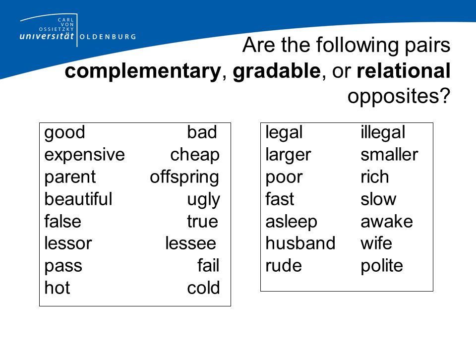Are the following pairs complementary, gradable, or relational opposites