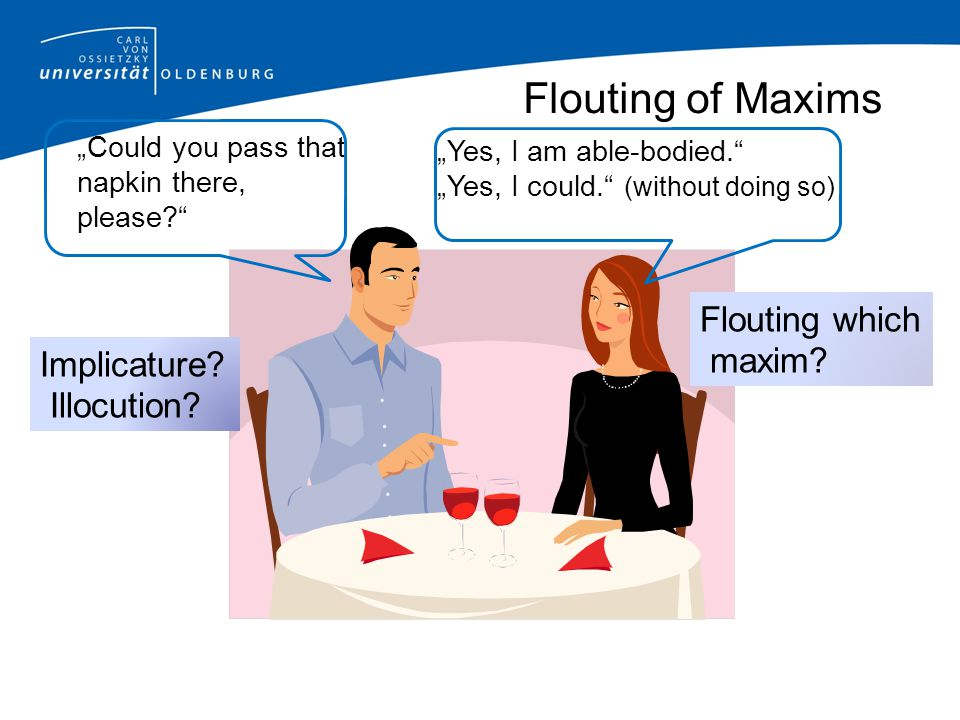Flouting of Maxims Flouting which maxim Implicature Illocution