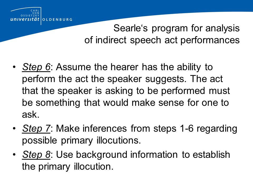 Searle's program for analysis of indirect speech act performances