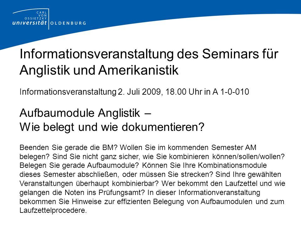 Informationsveranstaltung des Seminars für Anglistik und Amerikanistik