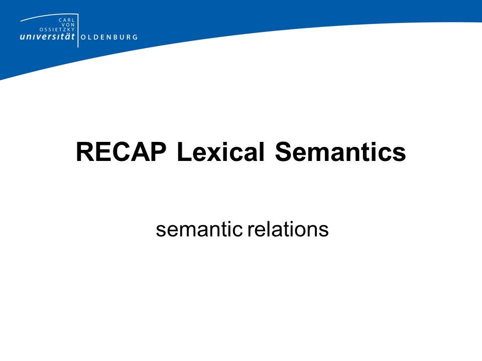 RECAP Lexical Semantics