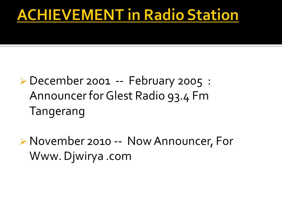 ACHIEVEMENT in Radio Station