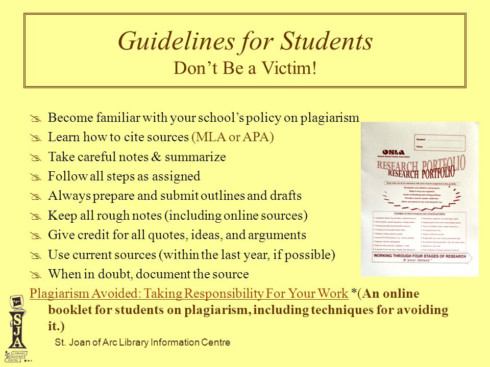 Guidelines for Students Don't Be a Victim!