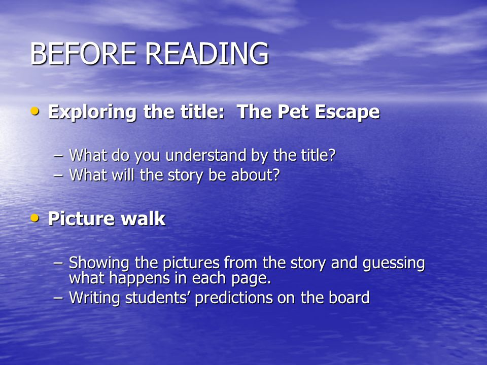 BEFORE READING Exploring the title: The Pet Escape Picture walk