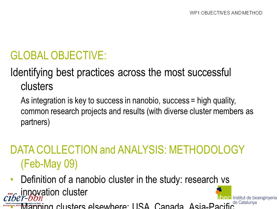 WP1:OBJECTIVES AND METHOD