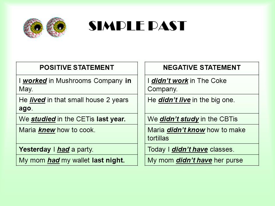 SIMPLE PAST POSITIVE STATEMENT NEGATIVE STATEMENT