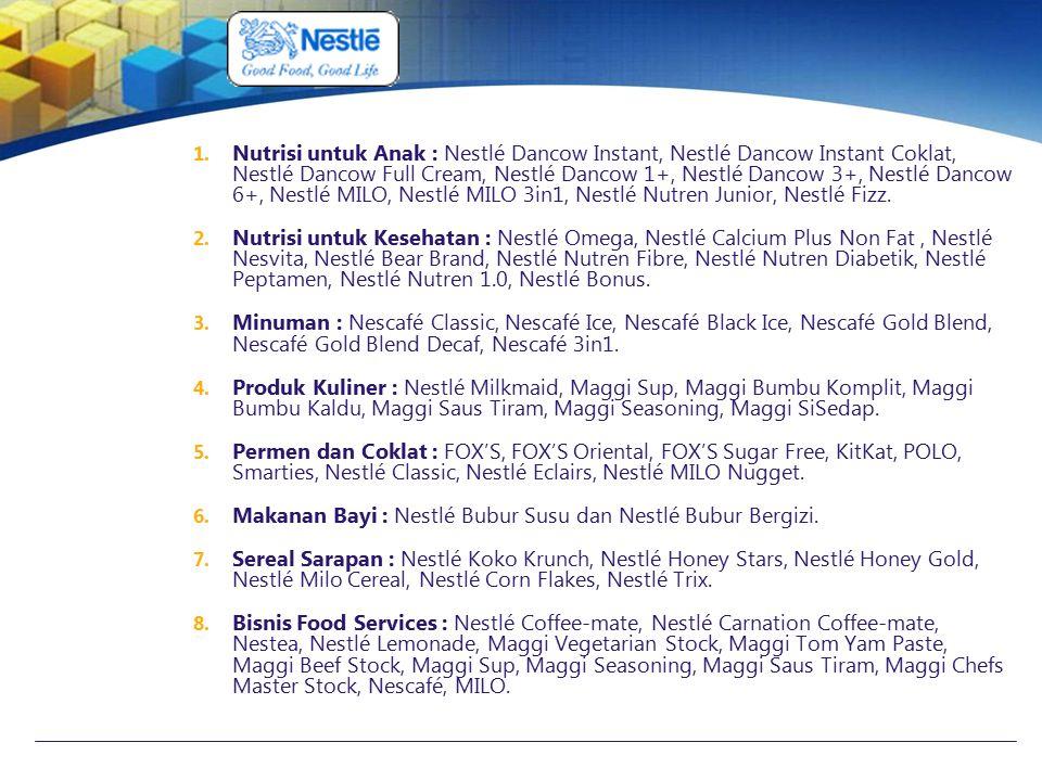 Nutrisi untuk Anak : Nestlé Dancow Instant, Nestlé Dancow Instant Coklat, Nestlé Dancow Full Cream, Nestlé Dancow 1+, Nestlé Dancow 3+, Nestlé Dancow 6+, Nestlé MILO, Nestlé MILO 3in1, Nestlé Nutren Junior, Nestlé Fizz.