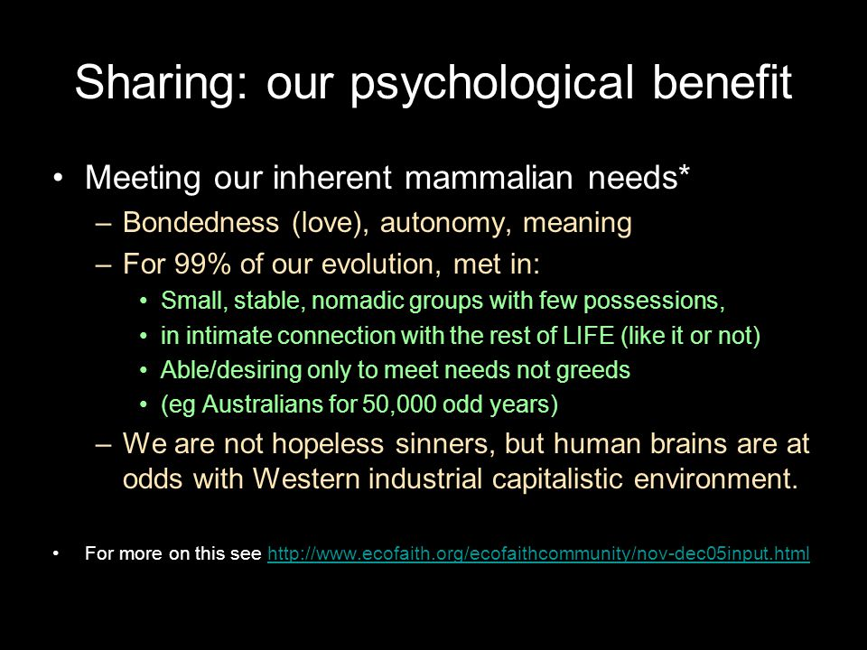 Sharing: our psychological benefit