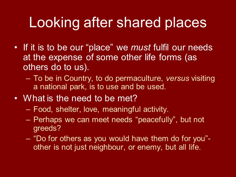 Looking after shared places