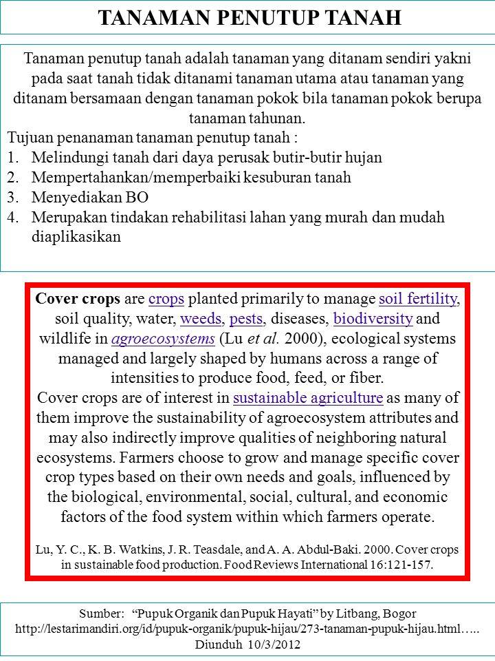 Sumber: Pupuk Organik dan Pupuk Hayati by Litbang, Bogor