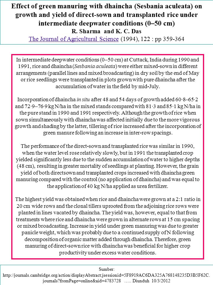 The Journal of Agricultural Science (1994), 122 : pp 359-364