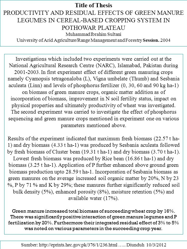 Title of Thesis PRODUCTIVITY AND RESIDUAL EFFECTS OF GREEN MANURE LEGUMES IN CEREAL-BASED CROPPING SYSTEM IN POTHOWAR PLATEAU