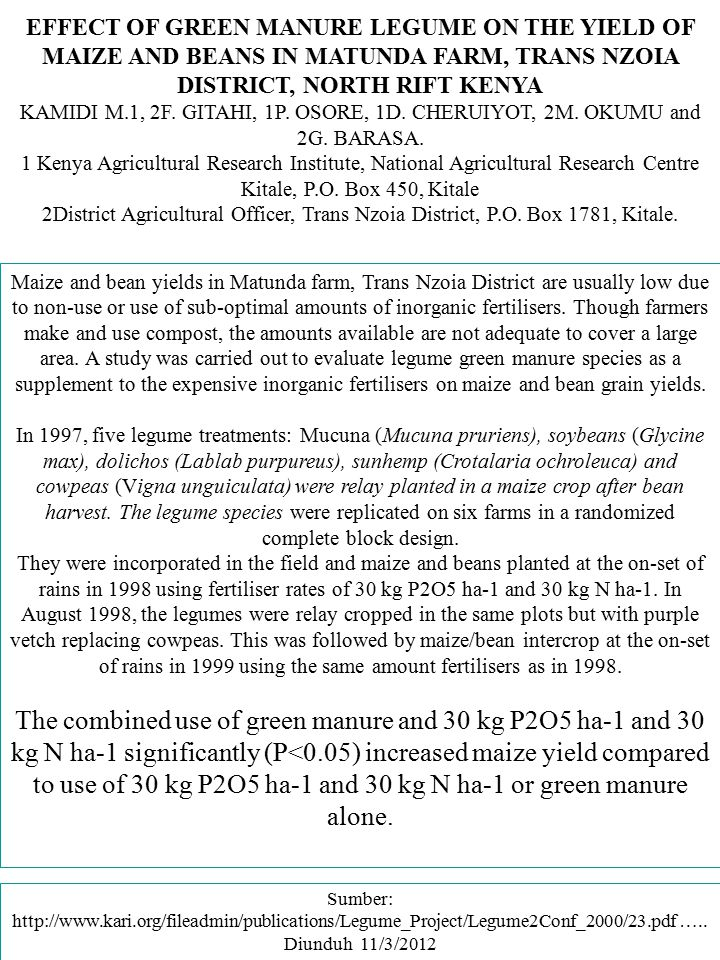 EFFECT OF GREEN MANURE LEGUME ON THE YIELD OF MAIZE AND BEANS IN MATUNDA FARM, TRANS NZOIA DISTRICT, NORTH RIFT KENYA