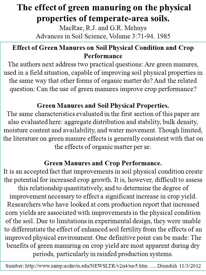 The effect of green manuring on the physical properties of temperate-area soils.