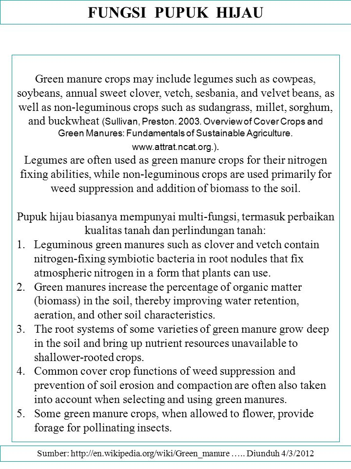 Sumber: http://en.wikipedia.org/wiki/Green_manure ….. Diunduh 4/3/2012