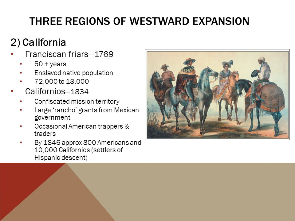 Three regions of westward expansion