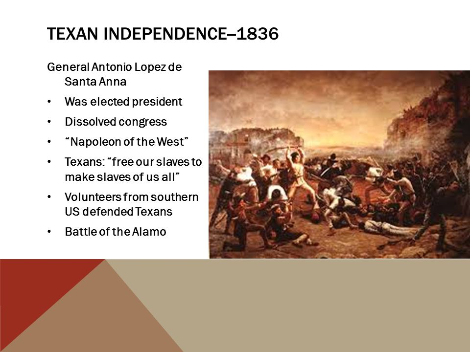 Texan independence--1836 General Antonio Lopez de Santa Anna