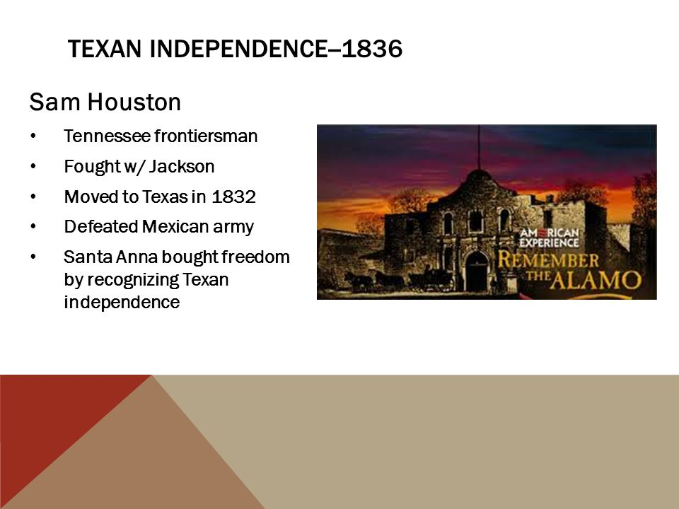 Texan independence--1836 Sam Houston Tennessee frontiersman