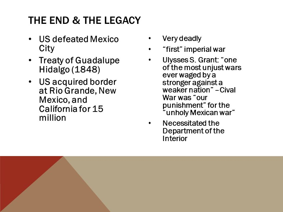 The end & The Legacy US defeated Mexico City