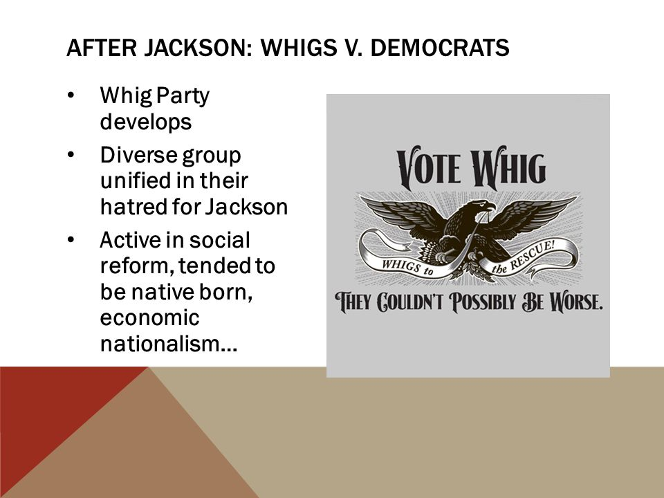 After Jackson: Whigs v. Democrats