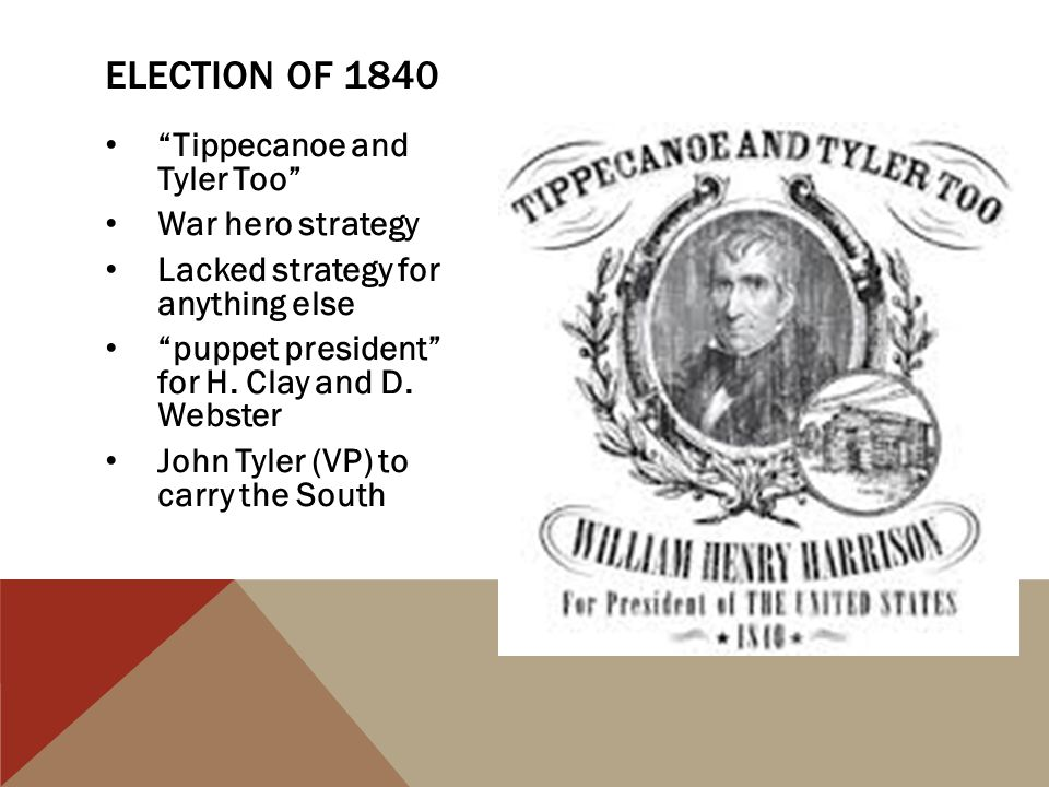 Election of 1840 Tippecanoe and Tyler Too War hero strategy