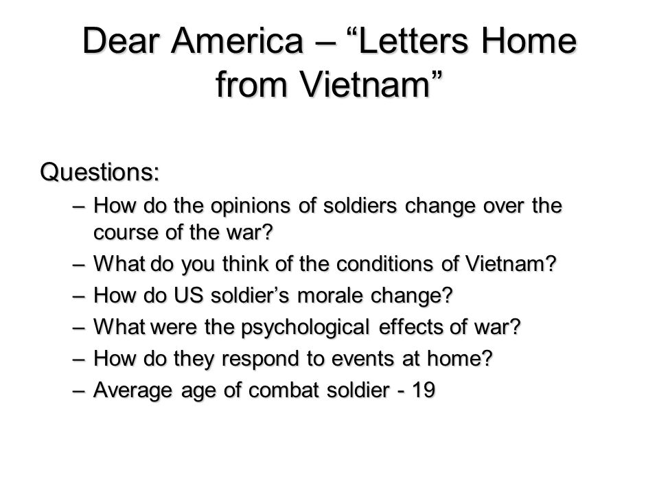 Dear America – Letters Home from Vietnam