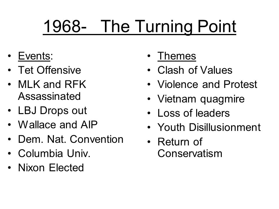 1968- The Turning Point Events: Tet Offensive MLK and RFK Assassinated
