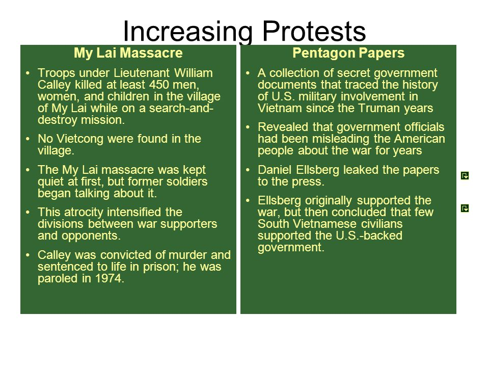 Increasing Protests My Lai Massacre Pentagon Papers