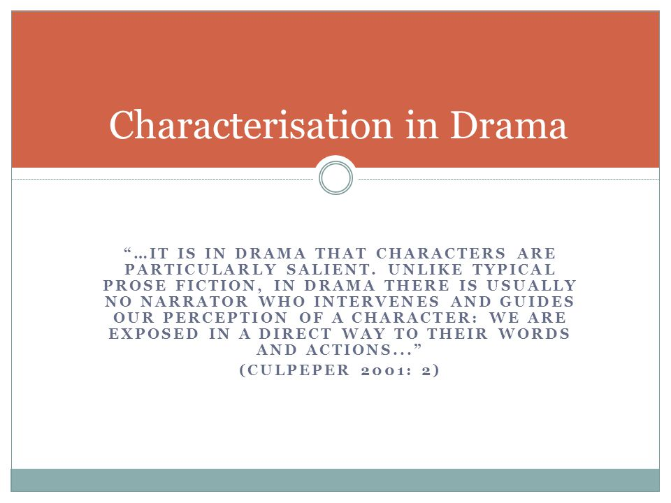 Characterisation in Drama
