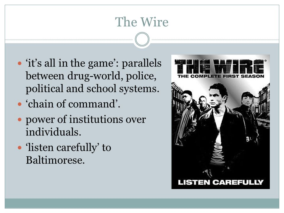 The Wire 'it's all in the game': parallels between drug-world, police, political and school systems.