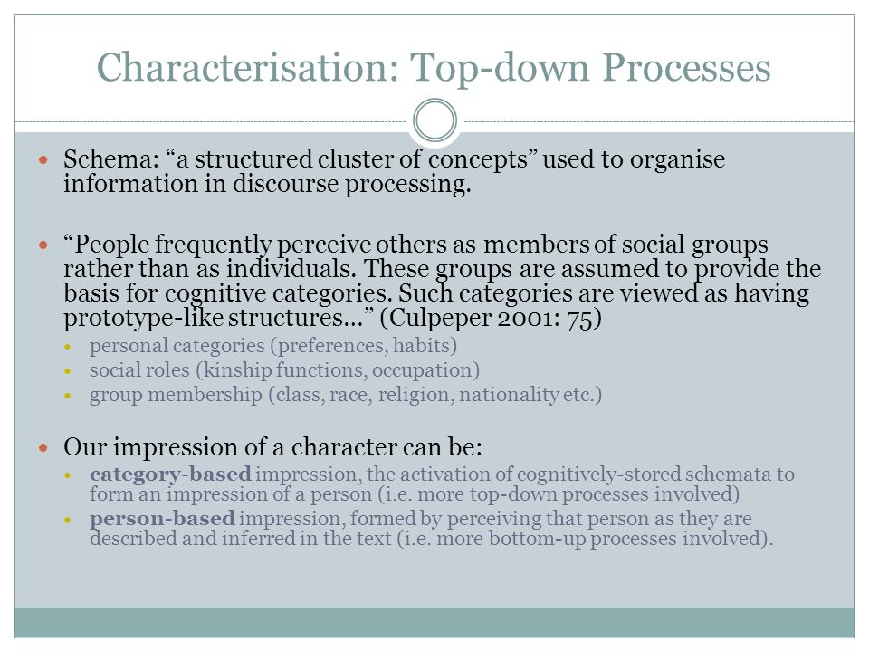 Characterisation: Top-down Processes