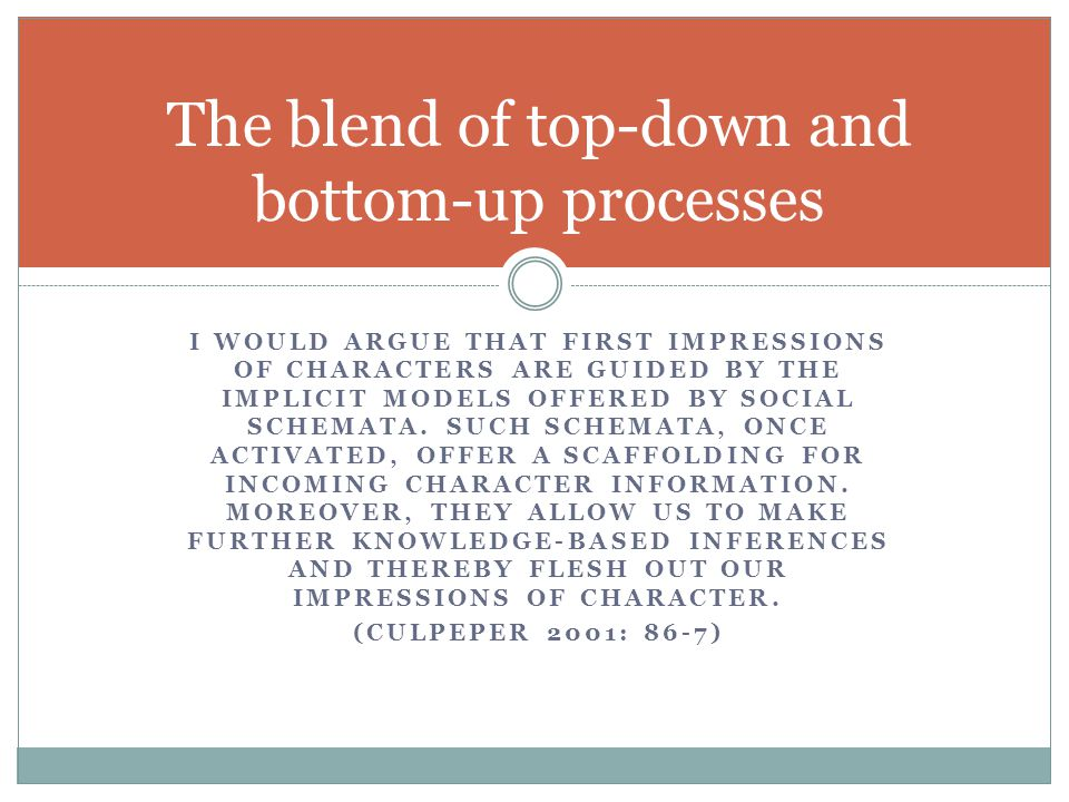 The blend of top-down and bottom-up processes