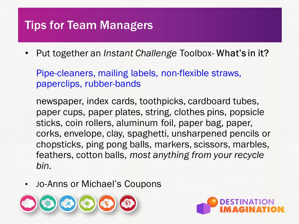 Tips for Team Managers Put together an Instant Challenge Toolbox- What's in it