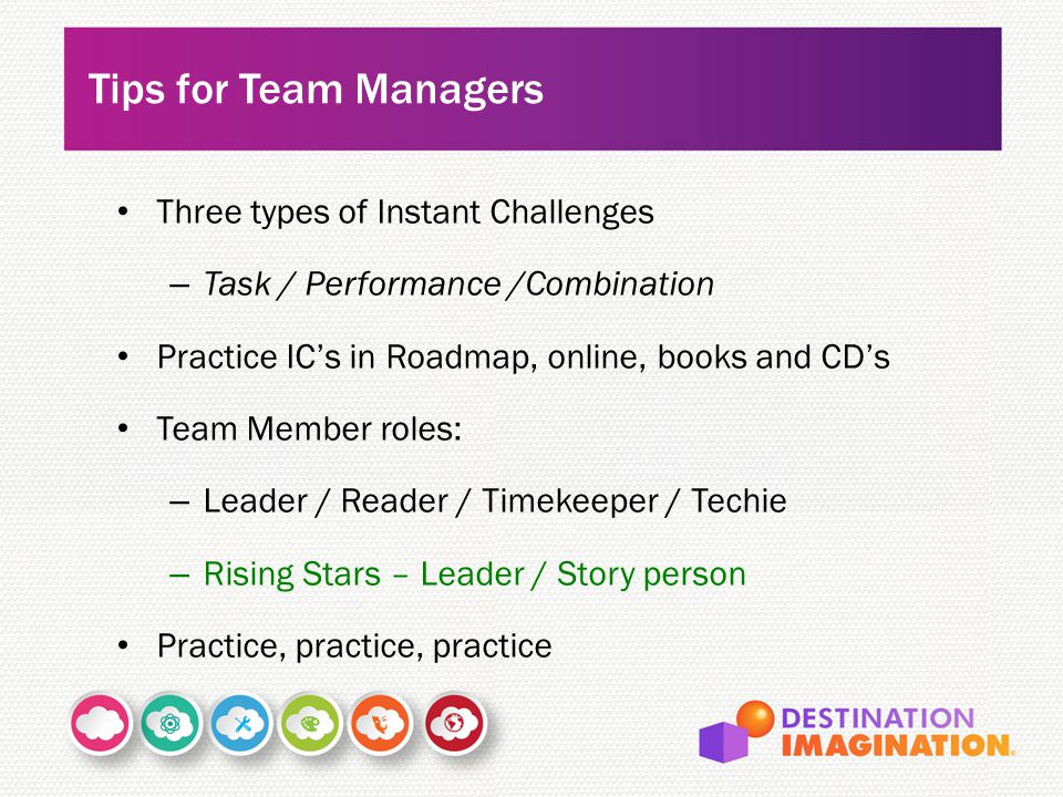 Tips for Team Managers Three types of Instant Challenges