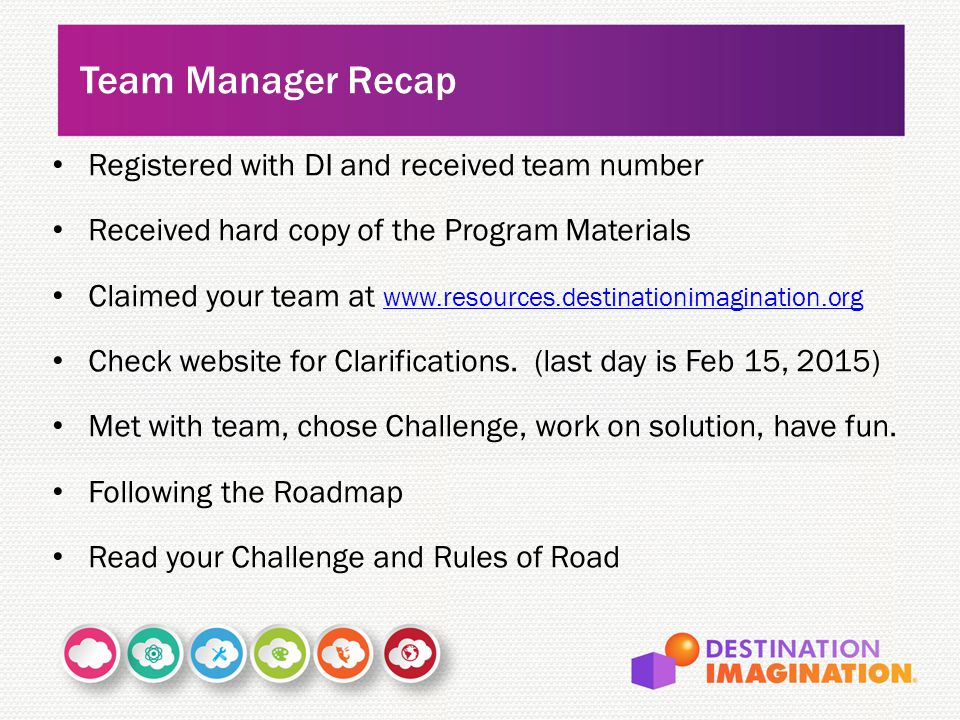 Team Manager Recap Registered with DI and received team number