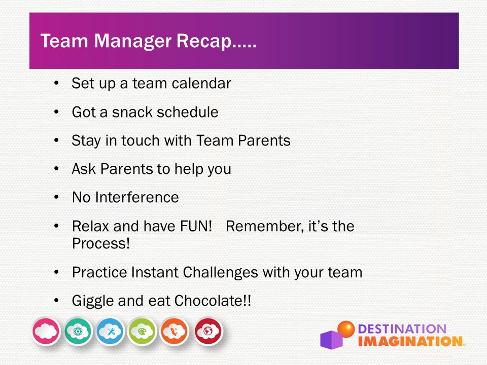 Team Manager Recap….. Set up a team calendar Got a snack schedule