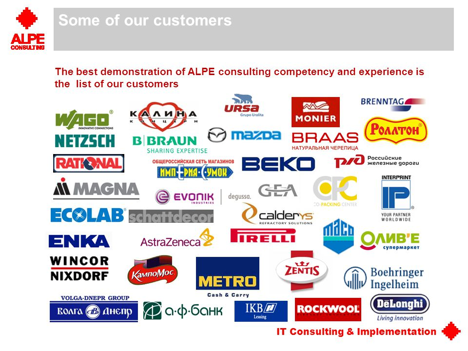 Some of our customers The best demonstration of ALPE consulting competency and experience is the list of our customers.