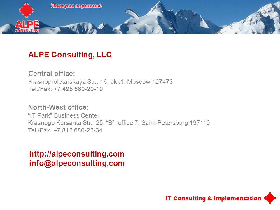 ALPE Consulting, LLC http://alpeconsulting.com info@alpeconsulting.com