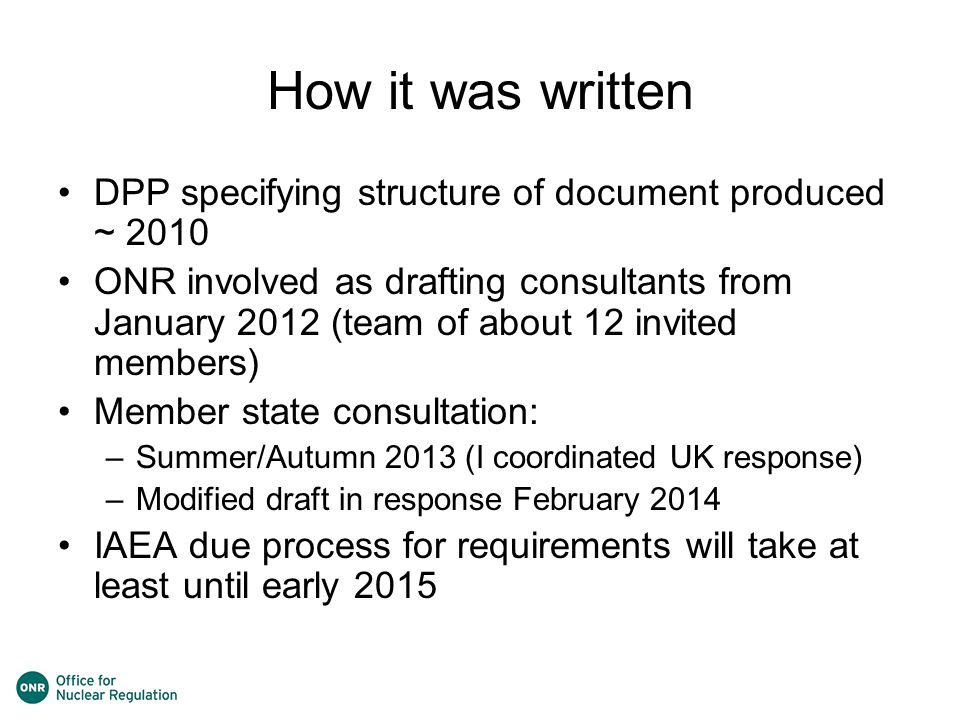 How it was written DPP specifying structure of document produced ~ 2010.