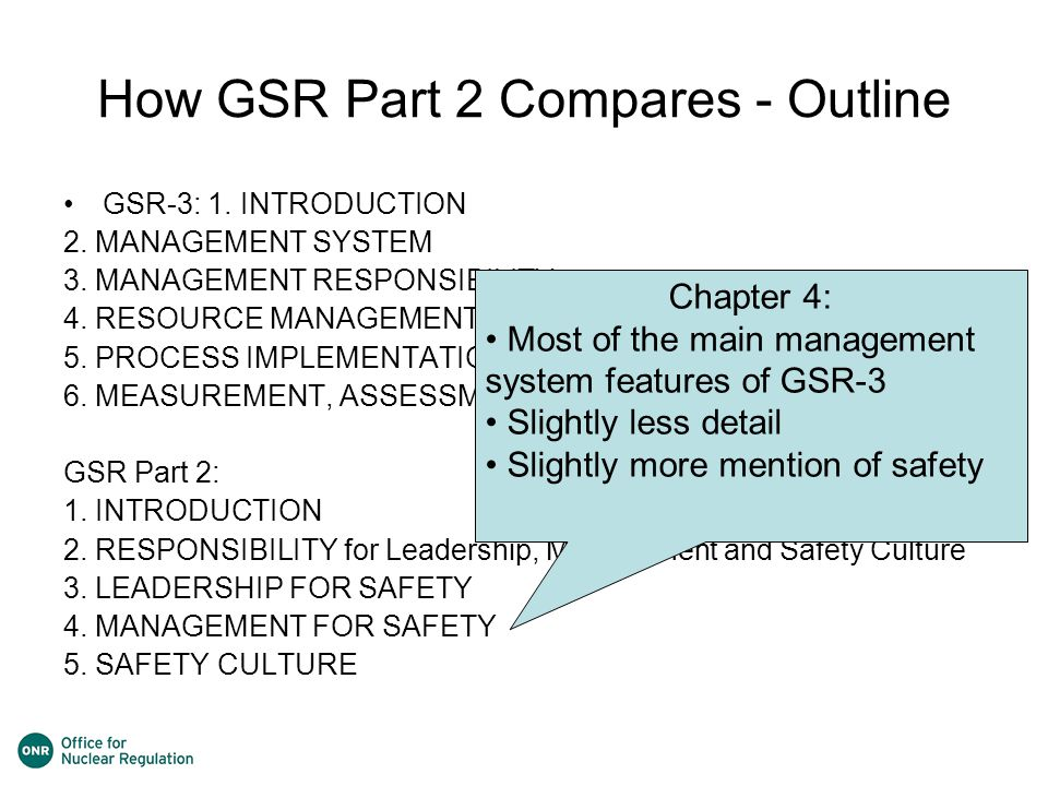 How GSR Part 2 Compares - Outline